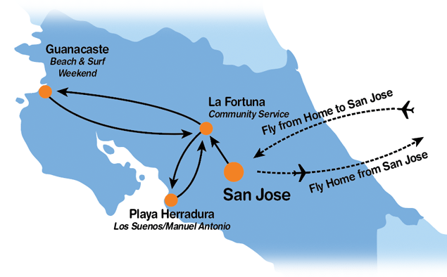 Itinerary Map for Project Costa Rica 20-Day Community Service Program